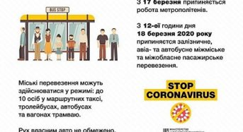 Уряд прийняв рішення про заборону пасажирських перевезень та обмежив кількість учасників масових заходів 10 особами